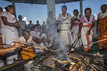 Hawan (offering to fire god) at Karbi Anglong District Brahma Dharma Jyoti Mondir, Langhin Manikpur, Assam, India, Asia