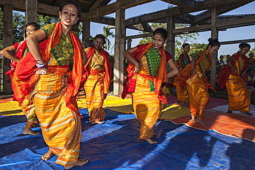 Traditional Karbi music and dance performance, Assam, India, Asia