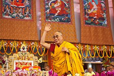 Tibetan spiritual leader hh dalai lama. Kalachakra initiation in bodhgaya, india