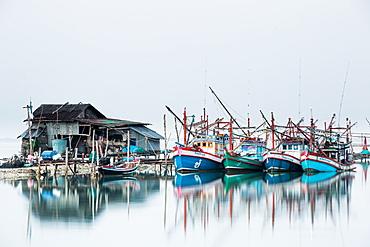 Shrimp fishing boats and house, Koh Phangan, Thailand, Southeast Asia, Asia