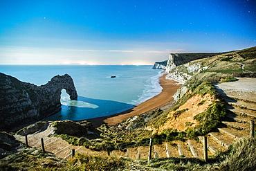 Durdle Door under the stars, Jurassic Coast, UNESCO World Heritage Site, Dorset, England, United Kingdom, Europe