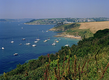St. Mawes, mouth of River Fal, from St. Anthony headland, opposite Falmouth, Cornwall, England, United Kingdom, Europe