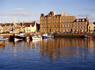 Boats in Kirkwall harbour at dusk, Orkney Isles, Scotland, United Kingdom, Europe
