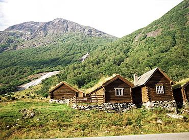Restored old farm buildings near Loen, Olden, Norway, Scandinavia, Europe
