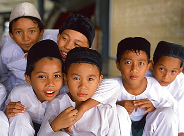 Group of schoolboys at a mosque for religious classes in Kota Kinabalu, Sabah, Malaysia, Southeast Asia, Asia