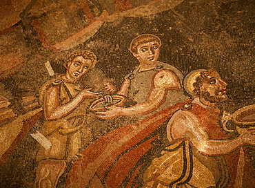 Mosaic, Ulysses and Polyphemus, dating from the 4th century AD, Villa Romana del Casale, near Piazza Armerina, Sicily, Italy, Europe