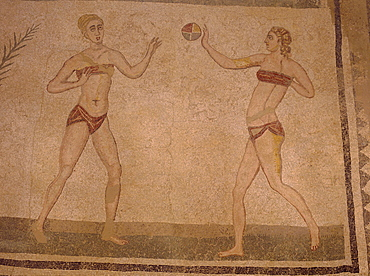 Mosaic 'Girls in bikinis' (doing gymnastics) 4th century AD, Villa Romana Del Casale, near Piazza Armerina, Sicily, Italy