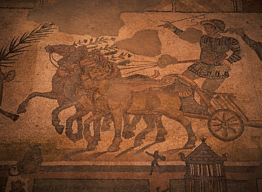 Mosaic of the Great Hunt, dating from the 4th century AD, Villa Romana del Casale, near Piazza Armerina, Sicily, Italy, Europe