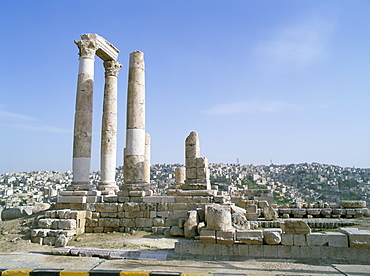 Columns of a Roman temple, probably of Hercules, dating from 161-166 AD, on the Citadel at Amman, Jordan, Middle East