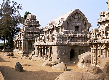 Group of rock cut temples called the Five Rathas (5 chariots), dating from circa 7th century AD, Mahabalipuram (Mamallapuram), UNESCO World Heritage Site, Tamil Nadu state, India, Asia