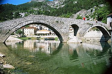 Bridge at Rijeka Crnojevica, a former royal summer resort, near Cetinje, Montenegro, Europe
