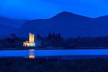 Ross Castle at dusk, Killarney National Park, County Kerry, Munster, Republic of Ireland, Europe