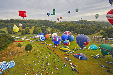 Hot-air balloons taking off from the festival site of the Bristol International Balloon Fiesta, held annually in August, Bristol, England, United Kingdom, Europe