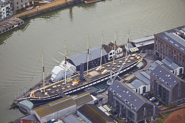 An aerial view of the SS Great Britain, the world's first propeller-driven steam ship, in dock in Bristol, England, United Kingdom, Europe