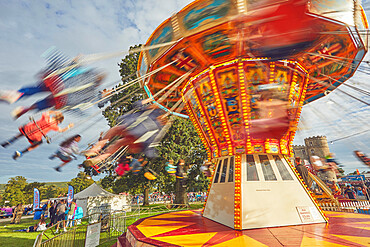 The merry-go-round at Camp Bestival, an annual family-friendly music festival held in July, Lulworth Castle, Dorset, England, United Kingdom, Europe