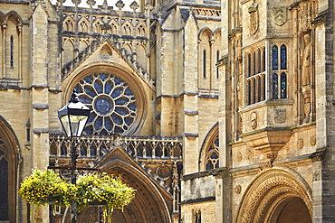 A close-up of the facade of Bristol Cathedral, Bristol, England, United Kingdom, Europe