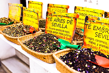 Spices for sale in Santa Cruz district, Seville, Andalusia (Andalucia), Spain, Europe
