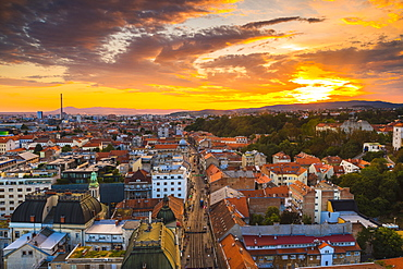 View of the city at dusk, Zagreb, Croatia, Europe
