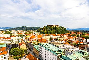 View of Ljubljana old town and Castle, Ljubljana, Slovenia, Europe