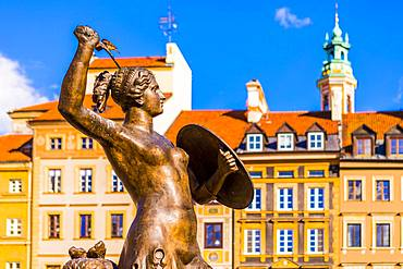 The Warsaw Mermaid, Old Town Market Square, Old Town, UNESCO World Heritage Site, Warsaw, Poland, Europe