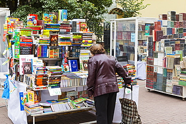 Book seller in Arbat Street, Moscow, Russia, Europe