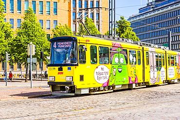 Colorful tram in Helsinki, Finland, Europe