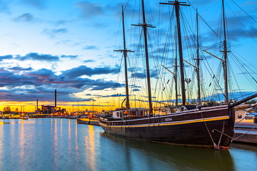 Boat docked at the harbour in Helsinki, Uusimaa, Finland, Scandinavia, Europe