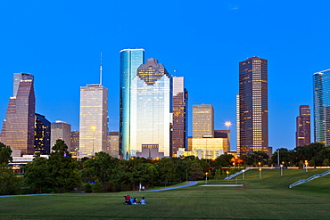Houston skyline at night from Eleanor Tinsley Park, Texas, United States of America, North America