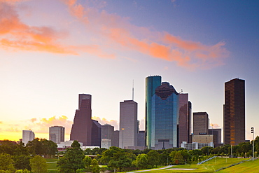 Houston skyline at dawn from Eleanor Tinsley Park, Texas, United States of America, North America