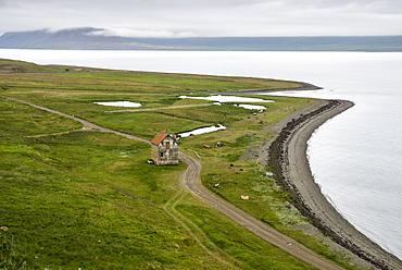 Abandoned farmhouse, Westfjords, Iceland, Polar Regions