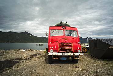 Old fire engine, Djupavik, Strandir Coast, Westfjords, Iceland, Polar Regions
