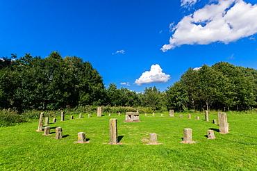 Modern day stone circle, Thwaite Mill, Leeds city centre, Leeds, Yorkshire, England, United Kingdom, Europe