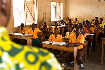 School classroom and teacher, Ghana, West Africa, Africa