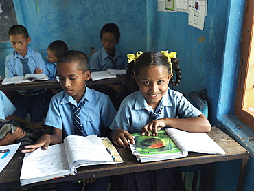 11 year-old Kamala at Himalaya Lower Secondary School in Tallagauganganda in Kaski district of Nepal, Asia