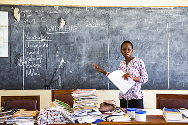 Local teacher Rebecca Ngovano during a training session for all the teachers in the school to improve teaching methodologies in classrooms, Angaza school, Lindi, Tanzania, East Africa, Africa