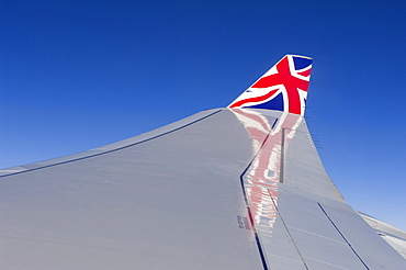 Airline wing tips with UK Union flag livery, United Kingdom, Europe