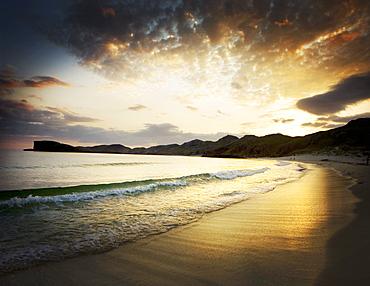 Oldshoremore beach at sunset, in the Scottish North West Highlands, Scotland, United Kingdom, Europe