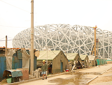 Building the Birds Nest Olympic stadium, Beijing, China, Asia