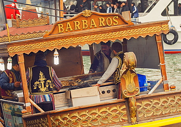 Floating traditional food stalls on the Bosphorus, Istanbul, Turkey, Europe