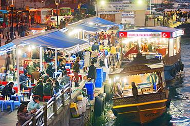 Floating traditional food stalls on the Bosphorus, Isanbul, Turkey, Europe