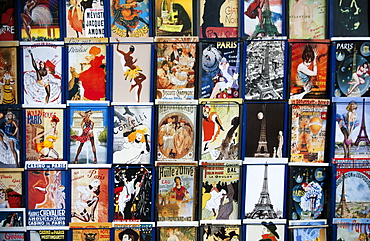 Postcards on the traditional stalls on the Seine, Paris, France, Europe