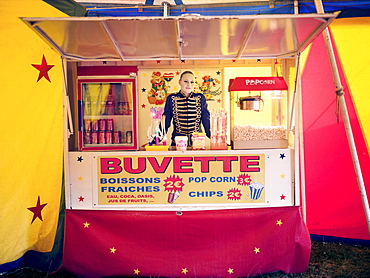 Popcorn stall, family circus, France, Europe