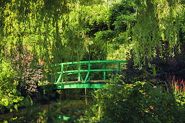 The famous bridge over the lily pond in Monet's Garden, Giverny, Eure, France, Europe