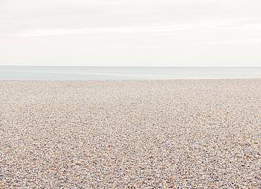 Empty pebble beach, Calais, Nord-Pas de Calais, France, Europe
