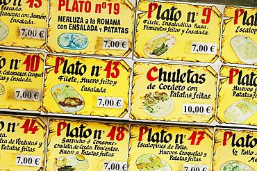 Menu board outside restaurant, Madrid, Spain, Europe