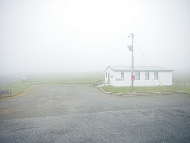 A welcome break at an isolated Highland tea room in foggy Scottish weather, Scotland, United Kingdom, Europe