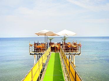 Seaside restaurant, Corfu, Greece, Europe