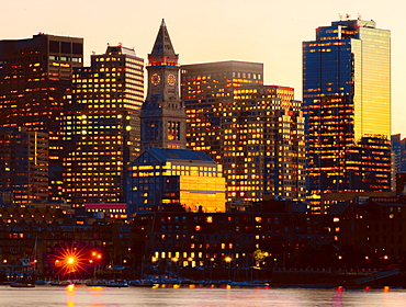 Customs House Clocktower and modern Boston skyline, Boston, Massachusetts, New England, United States of America, North America