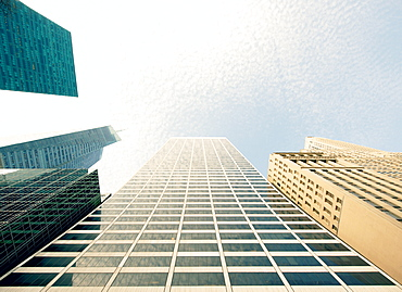 Abstract of modern skyscraper buildings, New York City, United States of America, North America