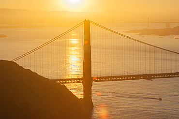 The Golden Gate Bridge at sunrise, San Francisco, California, United States of America, North America